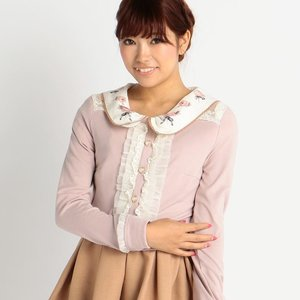 LIZ LISA Vertical Ribbon Ruffle Cardigan (Pink & Bordeaux)