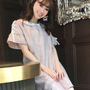 LIZ LISA Ribbon Sleeve Glen Check Dress