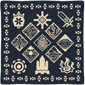 Monster Hunter XX Ethnic Pattern Cushion: Wycademy & the 4 Villages