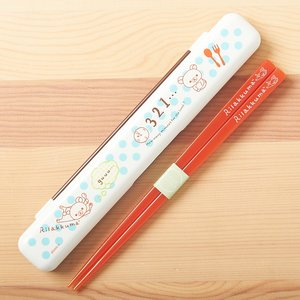 Home & Kitchen / Chopsticks & Cutlery / Rilakkuma Chopsticks & Case (Blue Polka Dots)