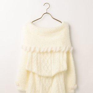J-Fashion / Dresses / LIZ LISA Off-Shoulder Fur Knit Dress