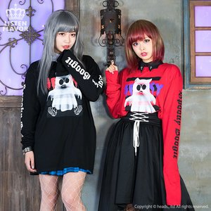 LISTEN FLAVOR Spooky Ghost Long-Sleeve Big Cutsew