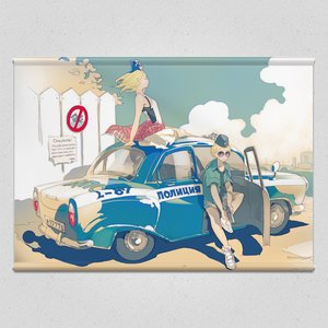 Patrolling Russian Police Officer Tapestry