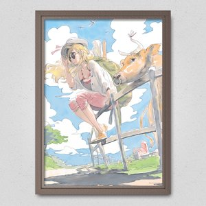 Cow Girl - A Country Road in the Beginning of Autumn Poster