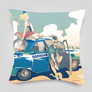 Patrolling Russian Police Officer Cushion Cover