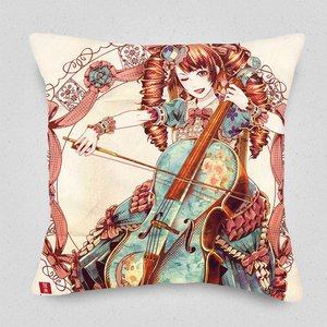 Flowers and a Cellist Cushion Cover