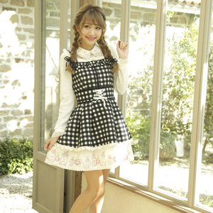 LIZ LISA Perfume Bottle Gingham Check Jumper Dress