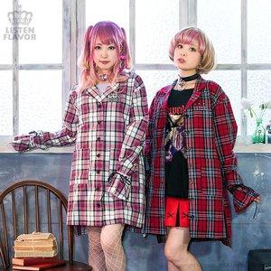 LISTEN FLAVOR Ribbon Sleeve Checkered Shirt Dress