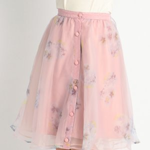 LIZ LISA Pansy Pattern Organdy Skirt (Pink)