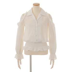 LIZ LISA Open Shoulder Frilly Embroidered Shirt
