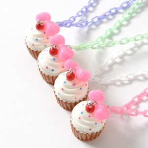 milklim Handmade Ribbon Cupcake Necklace