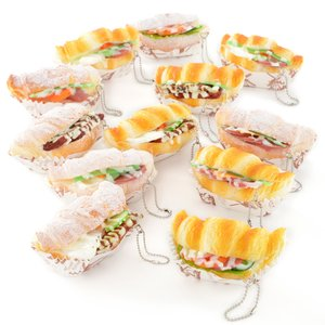 Funwari Real Croissant Sandwich Squeeze Ball Chain Charms