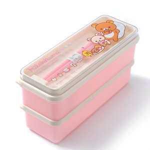 Home & Kitchen / Bento Containers / Chopsticks & Cutlery / Rilakkuma 2-Tier Mini Bento Box w/ Chopsticks
