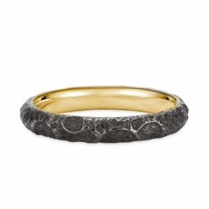 Evangelion 18K Yellow Gold Black Moon Ring