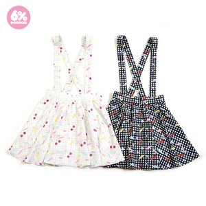 6%DOKIDOKI Gingham Cherry Skirt w/ Suspenders
