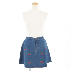 milklim Embroidered Cherry Denim Skirt