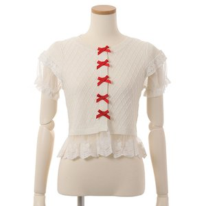 LIZ LISA Lacy Hem Ribbon Cardigan