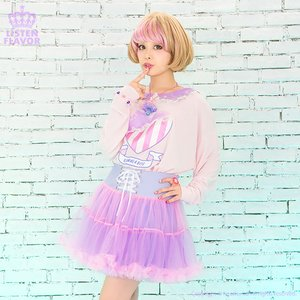 J-Fashion / Bottoms / LISTEN FLAVOR Lace-up Tulle Frill Skirt