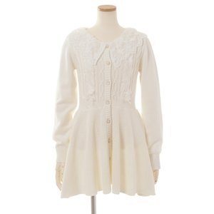 LIZ LISA Lace Collar Peplum Cardigan