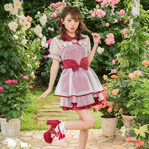 LIZ LISA Velour Ribbon x Organdy Sukapan Skirt