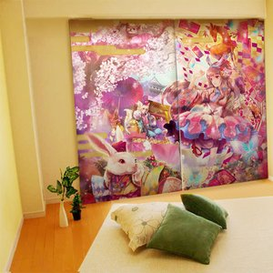 Home & Kitchen / Home Decor / Yuu Illustrated Curtains - Alice in Yamatoland