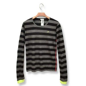Otaku Apparel & Cosplay / Tops / Hatsune Miku Timeline Striped Long Sleeve T-Shirt (Black)