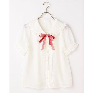 LIZ LISA Gingham Ribbon Short-Sleeve Blouse