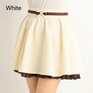 LIZ LISA Glen Plaid & Solid Color Sukapan Skirt (White)