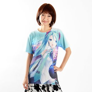 Otaku Apparel & Cosplay / Tops / Hatsune Miku V3 Full Graphic White T-Shirt Ver. 2.0