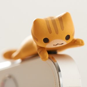 Stationery / Smartphone Accessories / Kitten Earphone Jack Accessory - Clinging Tabby