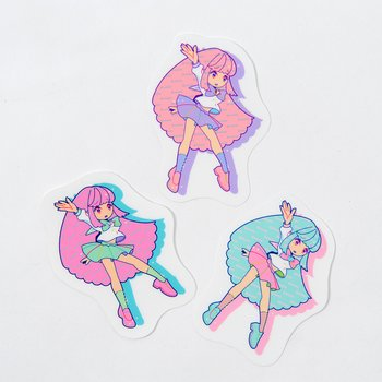 Pastel girl clear sticker set w rhinestones 1