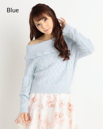 6205910abf7 LIZ LISA Back Ribbon Off-the-Shoulder Knit Top | Tokyo Otaku Mode Shop