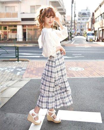 025a16dc90d LIZ LISA Checkered Sucre Mid-Length Skirt