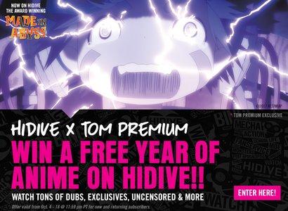 HIDIVE x TOM Premium Giveaway
