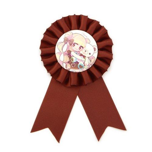 BEMINE Teddy & Girl Chocolate Rosette Ribbon Badge 1