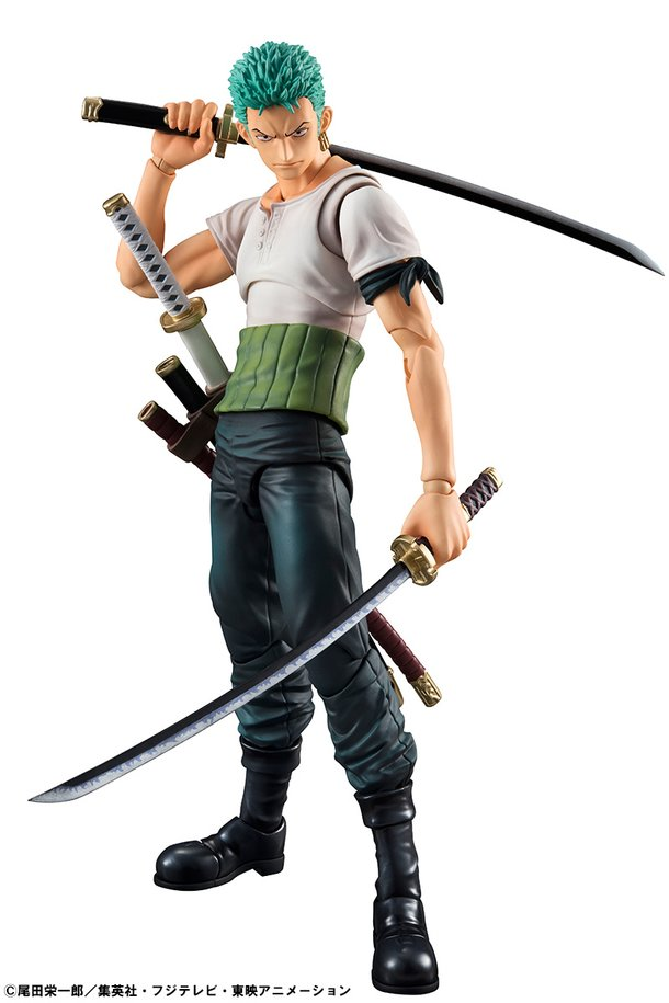 Inspired By His Appearance Prior To The Timeskip Roronoa Zoro Past Blue Figure Features Him In White T Shirt And Green Haramaki Comes With