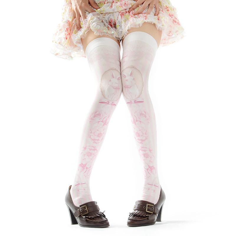 Zettairyoiki Sakura Bunny Pink Thigh High Tights Tokyo