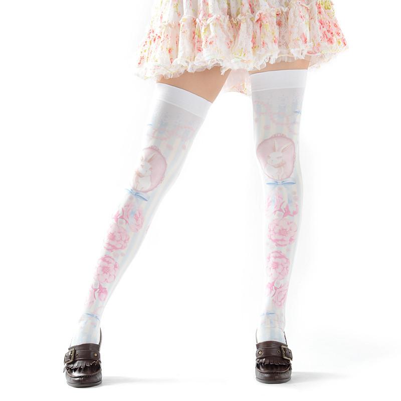 Zettairyoiki Sakura Bunny Blue Thigh High Tights Tokyo