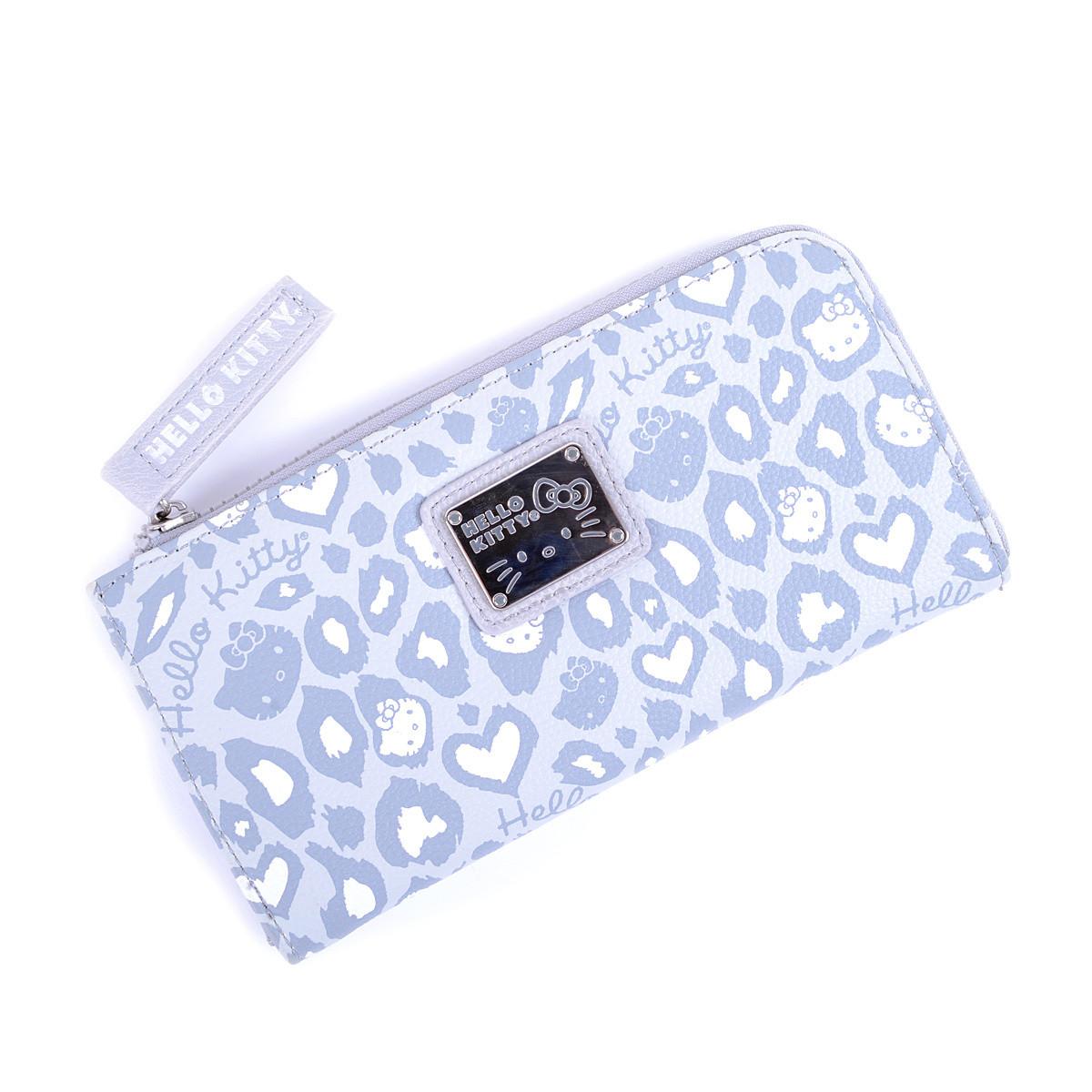 Hello Kitty Light Gray White Leopard Half Zip Wallet Tokyo Otaku Kimono Handuk Mode Shop