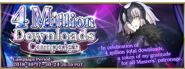 English Fate/Grand Order Holds Campaign to Celebrate 4 Million Downloads!