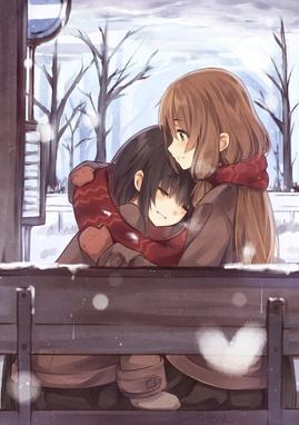 snowy bus stop