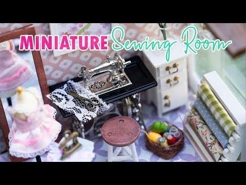 DIY Miniature Sewing Room - Customizing Old Dollhouse Room