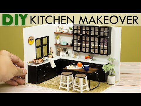 DIY Miniature Kitchen MAKEOVER - Remodel Dollhouse For Figures/Nendoroid