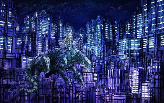 Night View of a Futuristic City