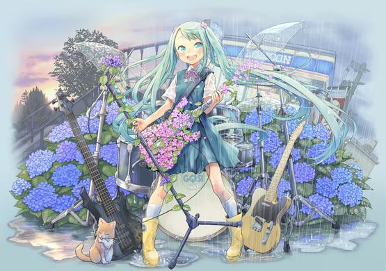 Umbrellas and Guitars in the Rain