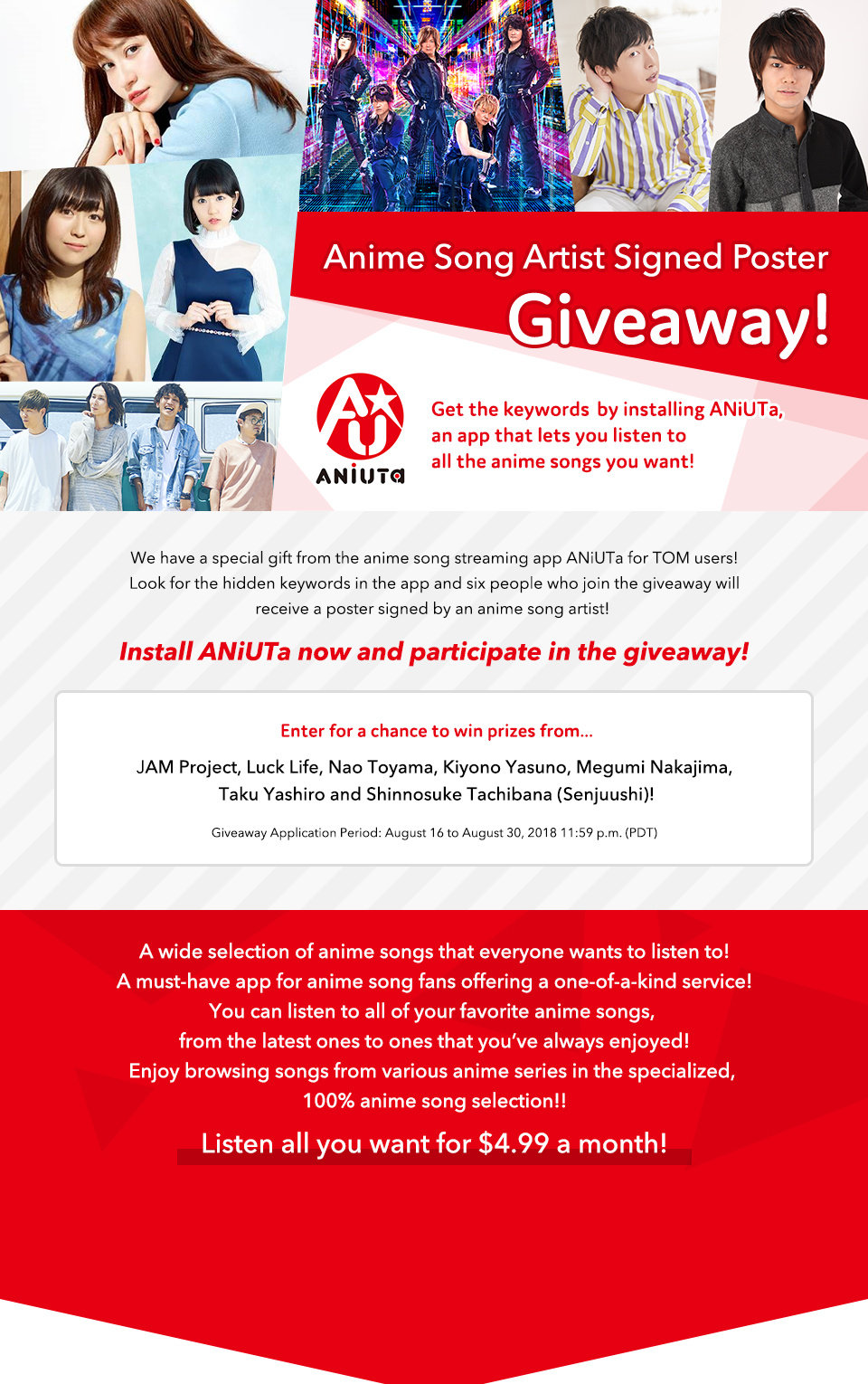 Anime Song Artist Signed Poster Giveaway!