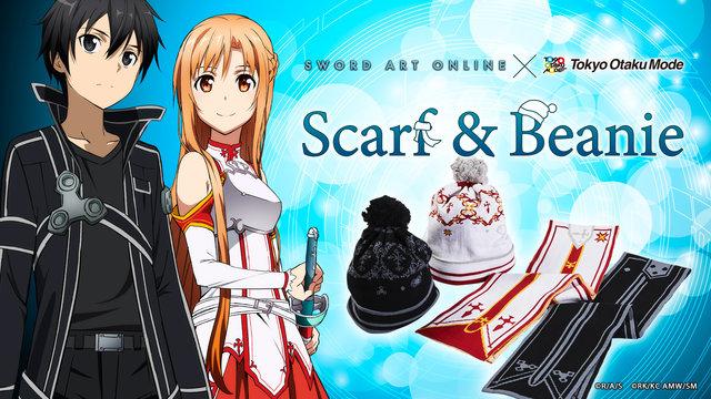 [SAO x TOM] Sword Art Online Scarf & Beanie: Kirito & Asuna